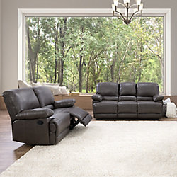 Corliving 2-Piece Lea Brownish-Grey Bonded Leather Reclining Sofa Set