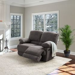 Corliving Lea Grey Chenille Fabric Reclining Loveseat