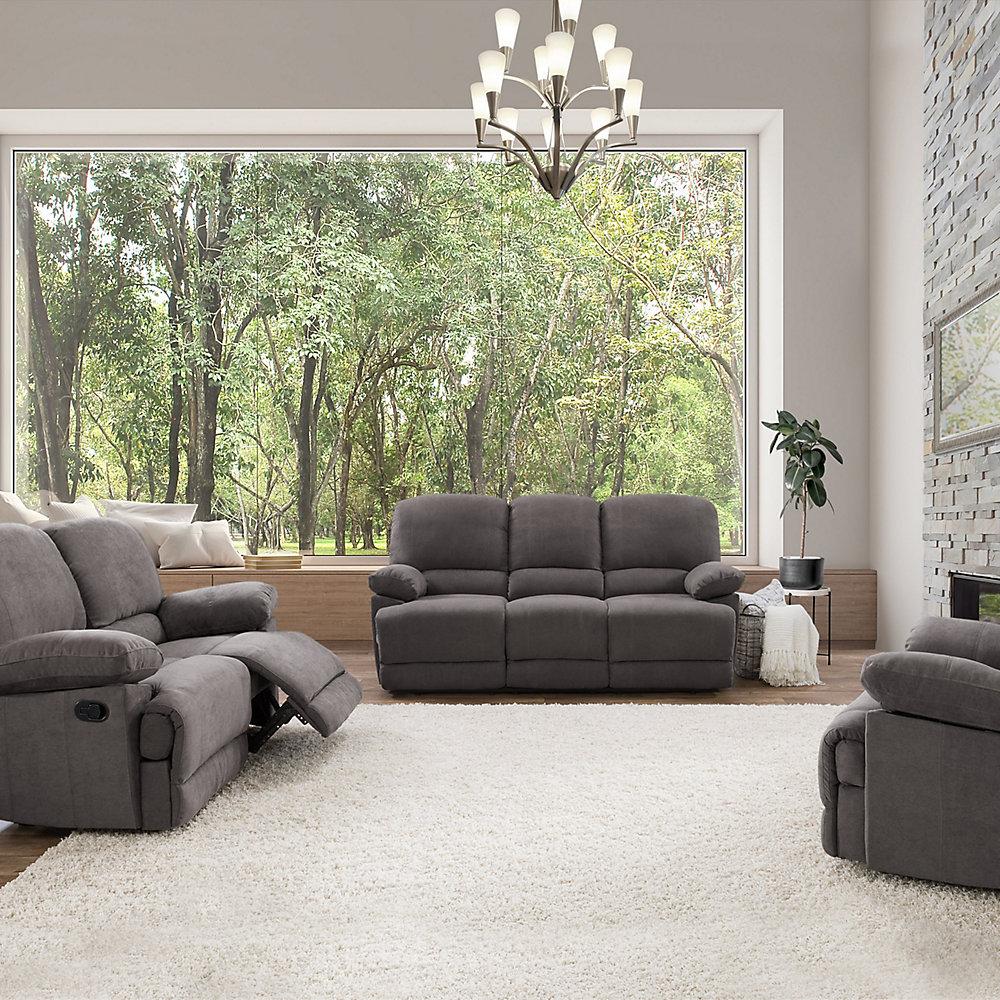 3 Piece Lea Grey Chenille Fabric Reclining Sofa Set