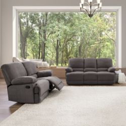 Corliving 2-Piece Lea Grey Chenille Fabric Reclining Sofa Set