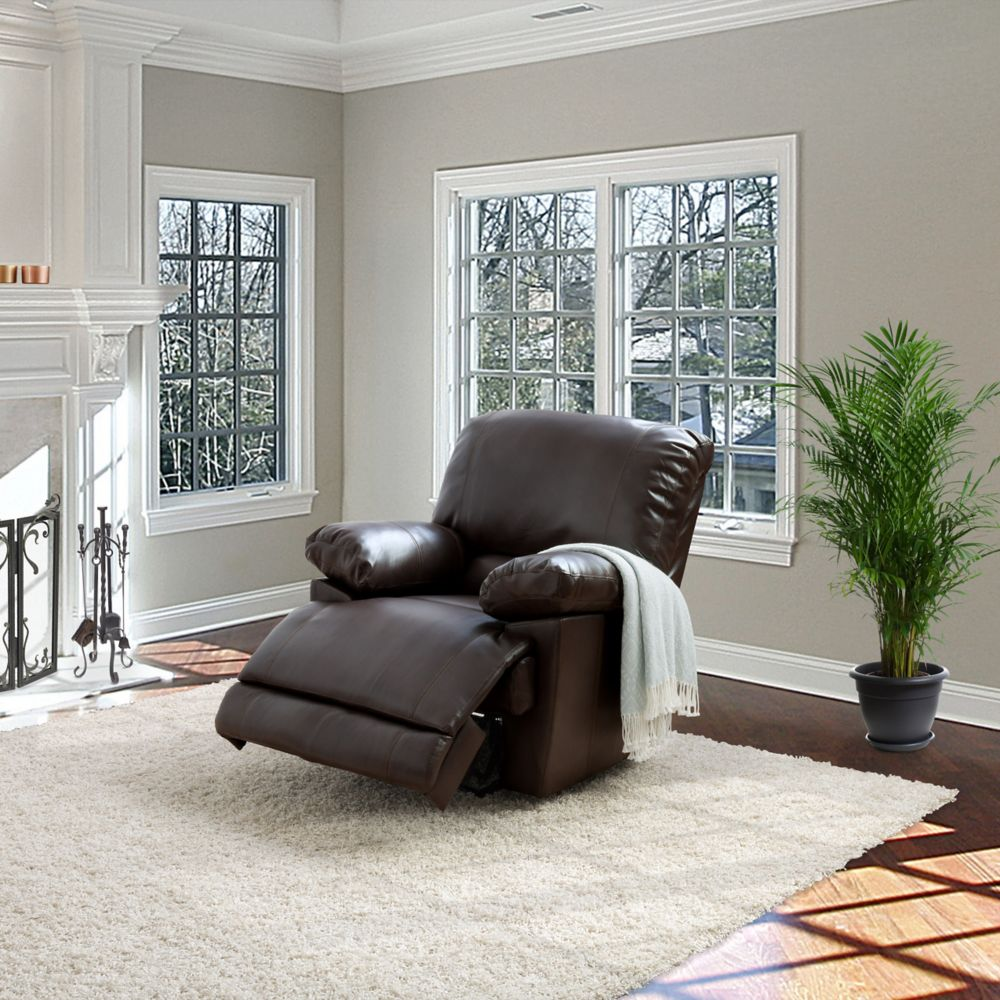 Corliving Lea Chocolate Brown Bonded Leather Reclining Chair