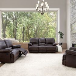 Corliving 3-Piece Lea Chocolate Brown Bonded Leather Reclining Sofa Set