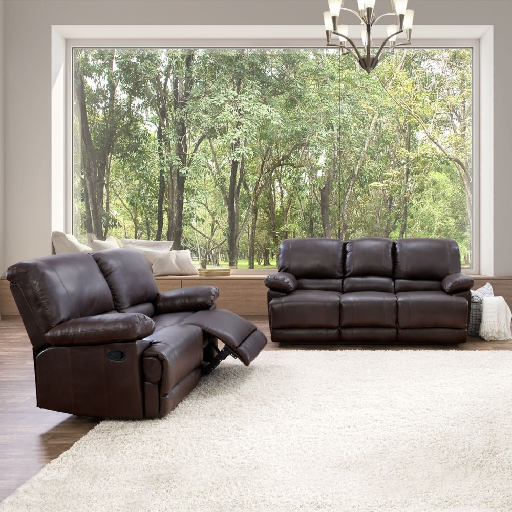 Corliving 2-Piece Lea Chocolate Brown Bonded Leather Reclining Sofa Set