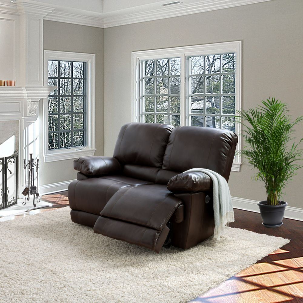 Corliving Lea Chocolate Brown Bonded Leather Power Reclining Loveseat With USB Port