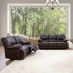 Corliving Lea Chocolate Brown Bonded Leather Power Recliner 2-Piece Sofa and Chair Set