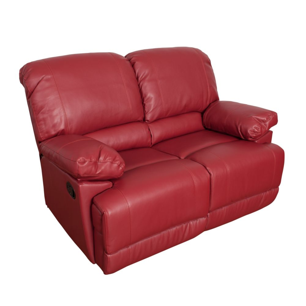 Corliving Lea Red Bonded Leather Reclining Loveseat
