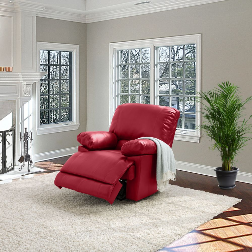 Corliving Lea Red Bonded Leather Reclining Chair