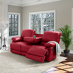 Corliving Lea Red Bonded Leather Reclining Sofa