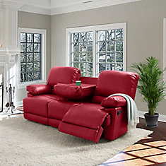 Lea Red Bonded Leather Reclining Sofa