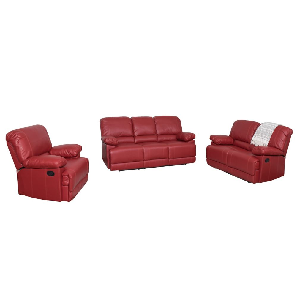Corliving 3-Piece Lea Red Bonded Leather Reclining Sofa Set