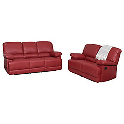 Corliving 2-Piece Lea Red Bonded Leather Reclining Sofa Set