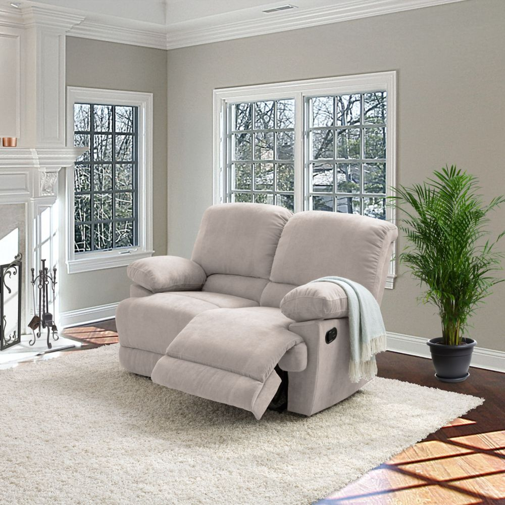 Corliving Lea Beige Chenille Fabric Reclining Loveseat