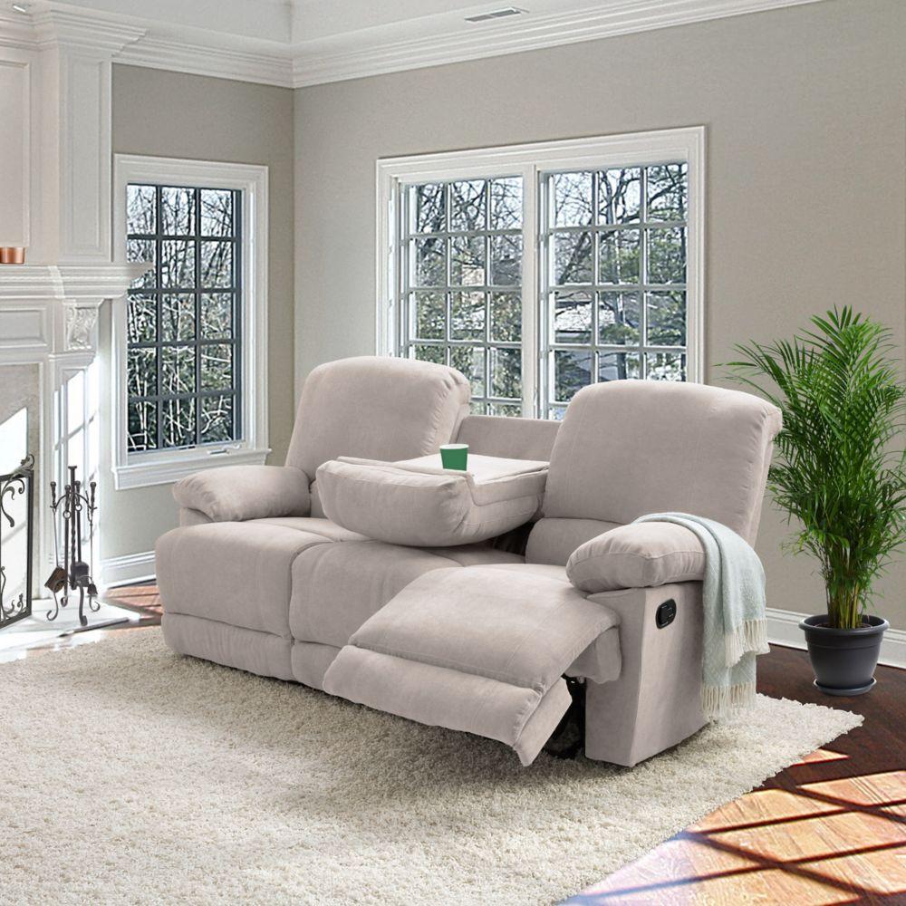 Corliving Lea Beige Chenille Fabric Reclining Sofa
