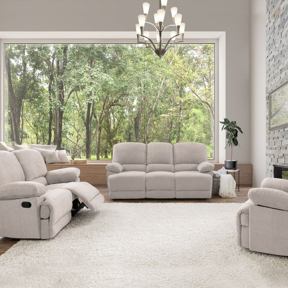 Corliving 3-Piece Lea Beige Chenille Fabric Reclining Sofa Set