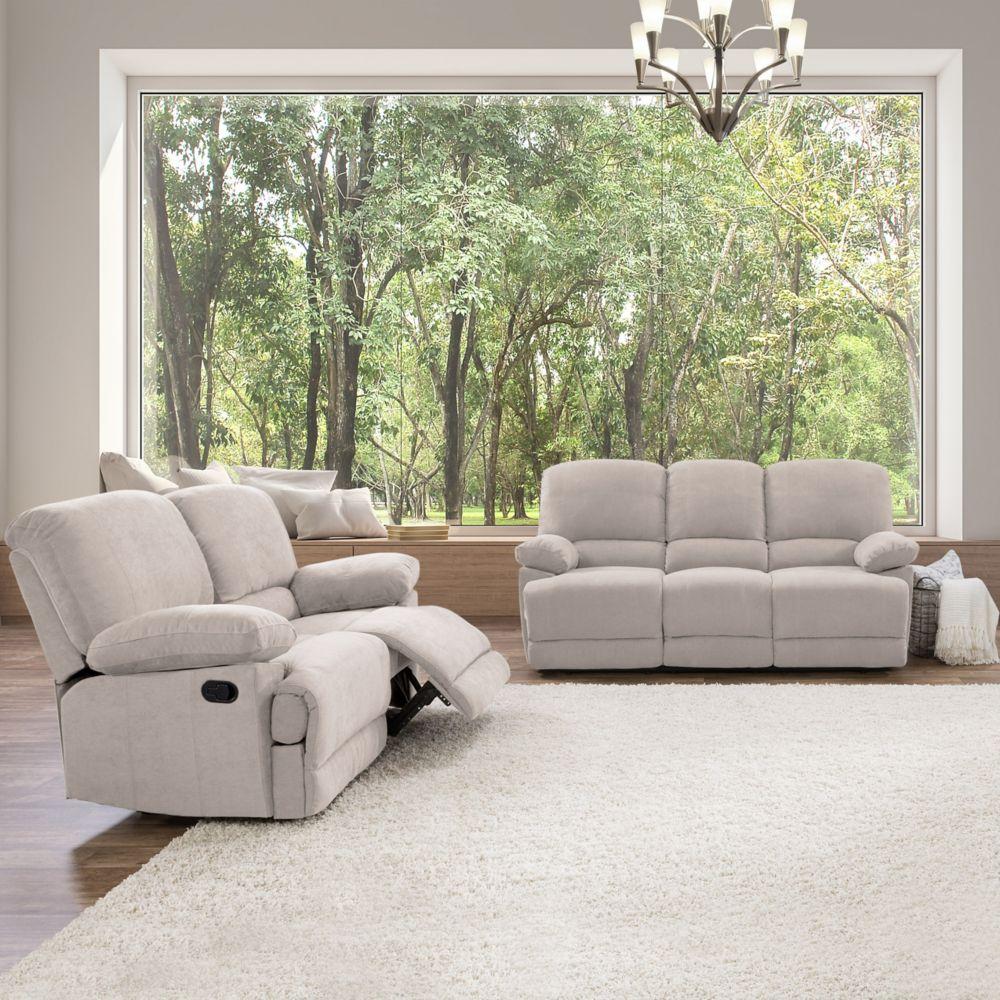 Corliving 2-Piece Lea Beige Chenille Fabric Reclining Sofa Set