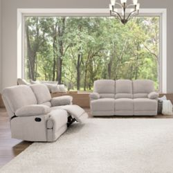 Corliving 2-Piece Lea Beige Chenille Fabric Reclining Sofa Set