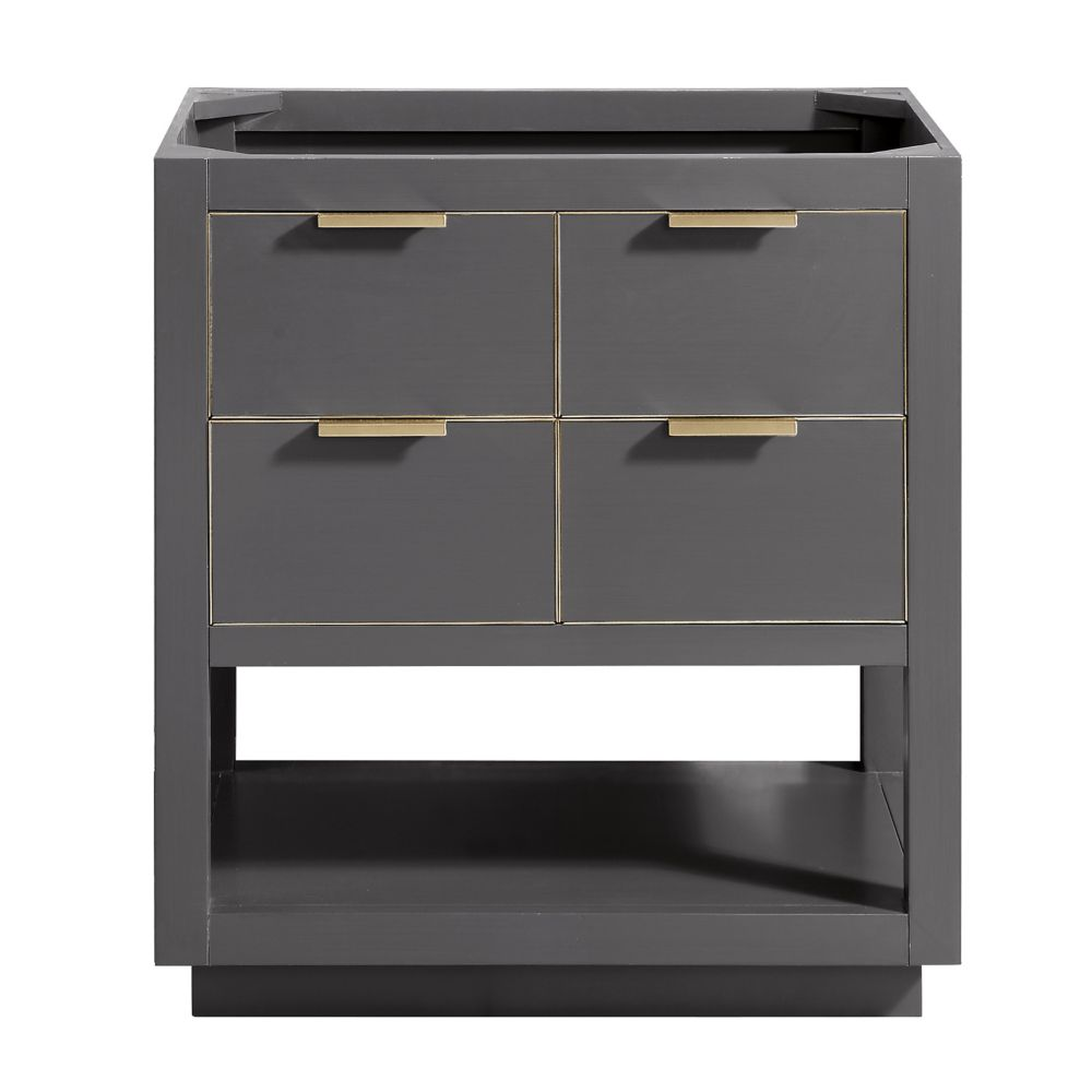 Allie 30 inch Vanity Only in Twilight Gray w/ Gold Trim