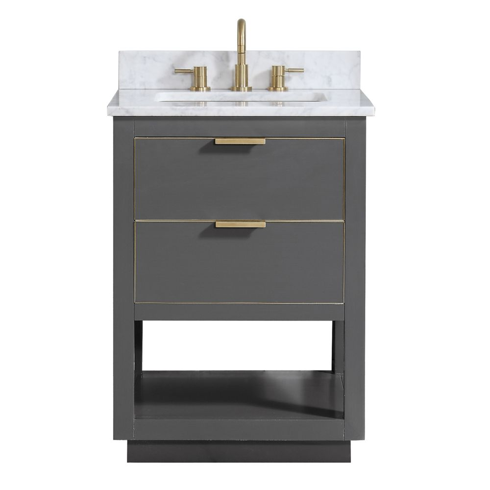 Avanity Allie 25 inch Vanity Combo in Twilight Gray w/ Gold Trim with Carrera White Marble Top
