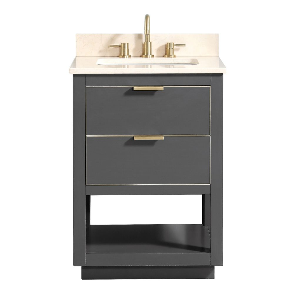 Avanity Allie 25 inch Vanity Combo in Twilight Gray w/ Gold Trim with Crema Marfil Marble Top