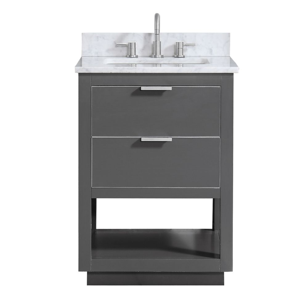 Allie 25 inch Vanity Combo in Twilight Gray w/ Silver Trim with Carrera White Marble Top