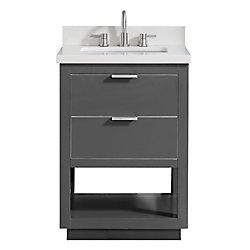 Avanity Allie 25 inch Vanity Combo in Twilight Gray w/ Silver Trim with White Quartz Top