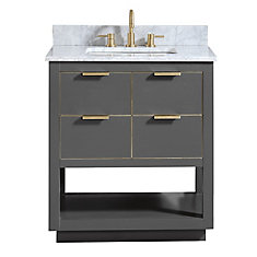 Allie 31 inch Vanity Combo in Twilight Gray w/ Gold Trim with Carrera White Marble Top