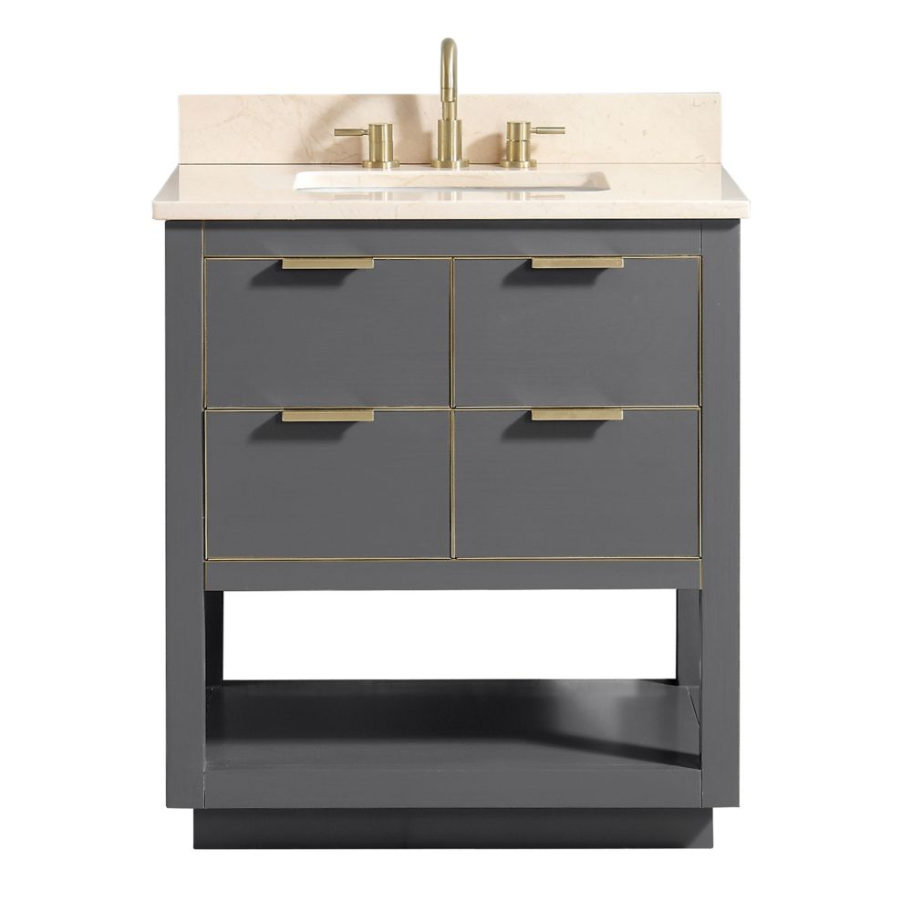Allie 31 inch Vanity Combo in Twilight Gray w/ Gold Trim with Crema Marfil Marble Top