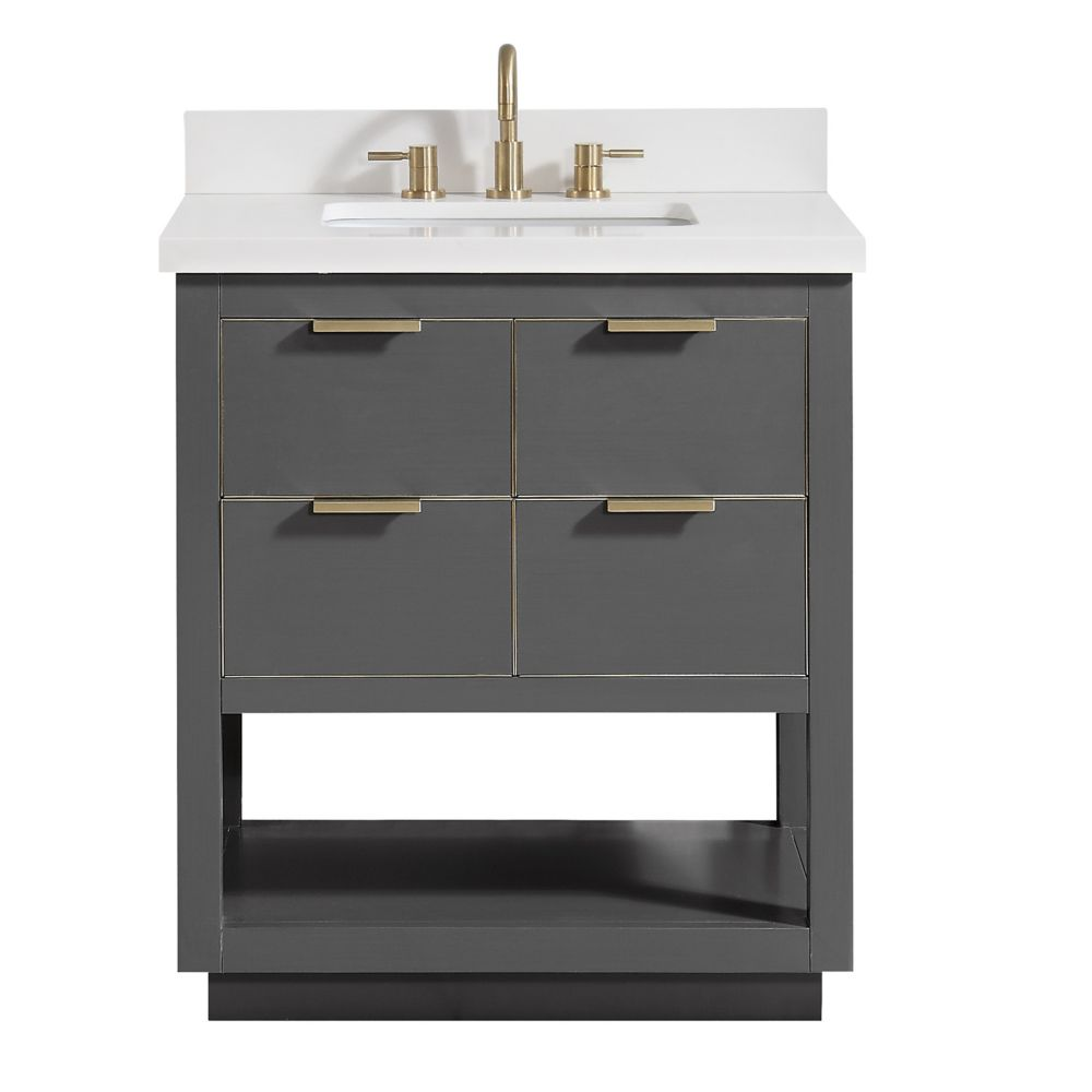 Allie 31 inch Vanity Combo in Twilight Gray w/ Gold Trim with White Quartz Top