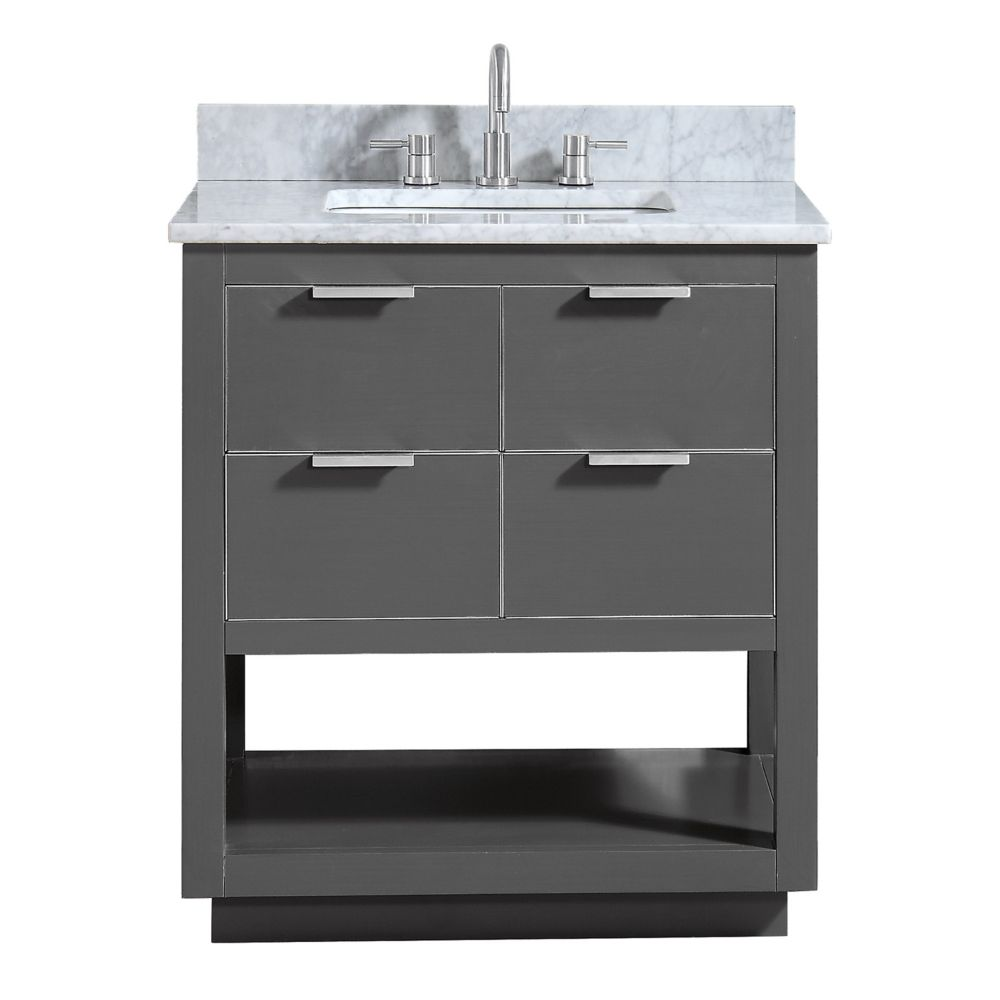 Avanity Allie 31 inch Vanity Combo in Twilight Gray w/ Silver Trim with Carrera White Marble Top