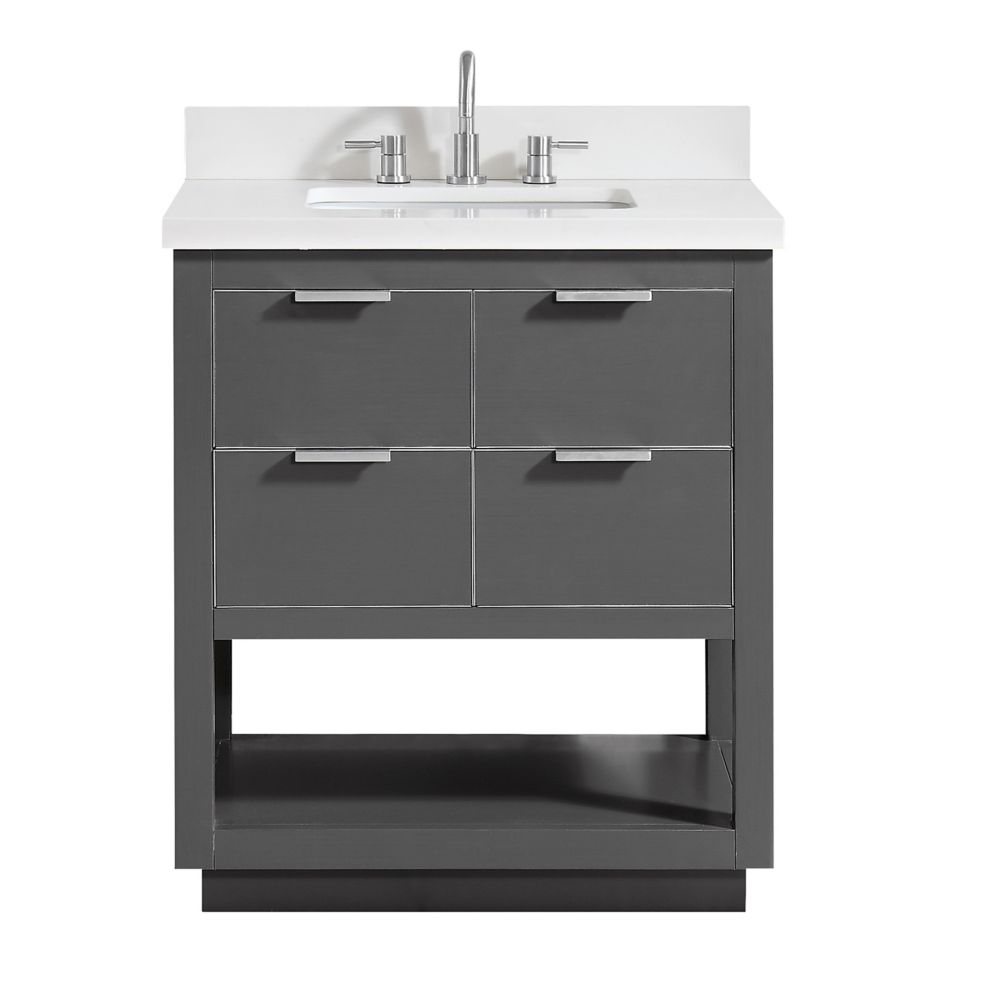 Allie 31 inch Vanity Combo in Twilight Gray w/ Silver Trim with White Quartz Top