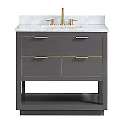 Avanity Allie 37 inch Vanity Combo in Twilight Gray w/ Gold Trim with Carrera White Marble Top