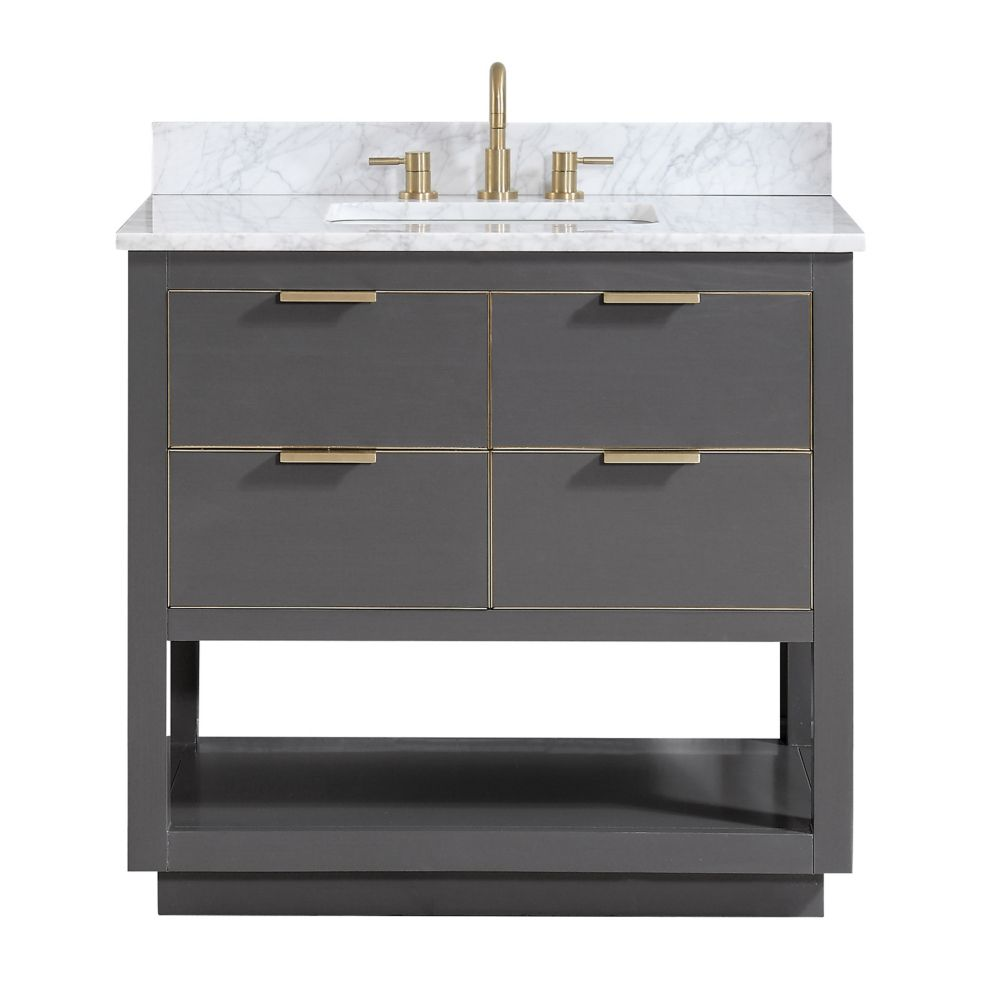 Allie 37 inch Vanity Combo in Twilight Gray w/ Gold Trim with Carrera White Marble Top