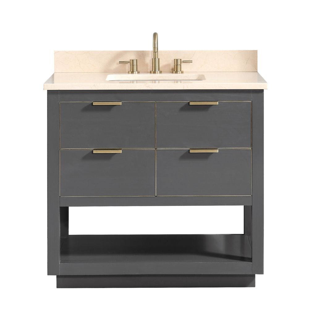 Allie 37 inch Vanity Combo in Twilight Gray w/ Gold Trim with Crema Marfil Marble Top