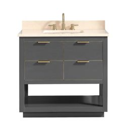 Avanity Allie 37 inch Vanity Combo in Twilight Gray w/ Gold Trim with Crema Marfil Marble Top