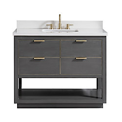 Avanity Allie 37 inch Vanity Combo in Twilight Gray w/ Gold Trim with White Quartz Top