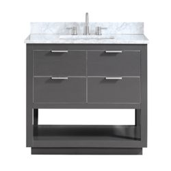 Avanity Allie 37 inch Vanity Combo in Twilight Gray w/ Silver Trim with Carrera White Marble Top