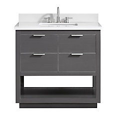 Allie 37 inch Vanity Combo in Twilight Gray w/ Silver Trim with White Quartz Top
