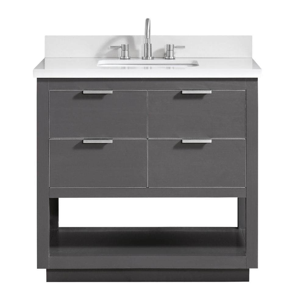 Avanity Allie 37 inch Vanity Combo in Twilight Gray w/ Silver Trim with White Quartz Top