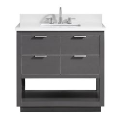 Avanity Allie 37 inch Vanity Combo in Twilight Gray w/ Silver Trim with White Quartz Top