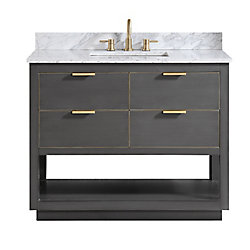 Avanity Allie 43 inch Vanity Combo in Twilight Gray w/ Gold Trim with Carrera White Marble Top