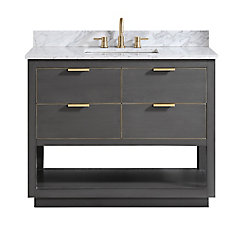 Allie 43 inch Vanity Combo in Twilight Gray w/ Gold Trim with Carrera White Marble Top