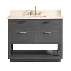 Avanity Allie 43 inch Vanity Combo in Twilight Gray w/ Gold Trim with Crema Marfil Marble Top