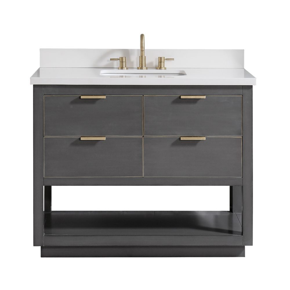 Avanity Allie 43 inch Vanity Combo in Twilight Gray w/ Gold Trim with White Quartz Top