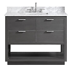 Allie 43 inch Vanity Combo in Twilight Gray w/ Silver Trim with Carrera White Marble Top
