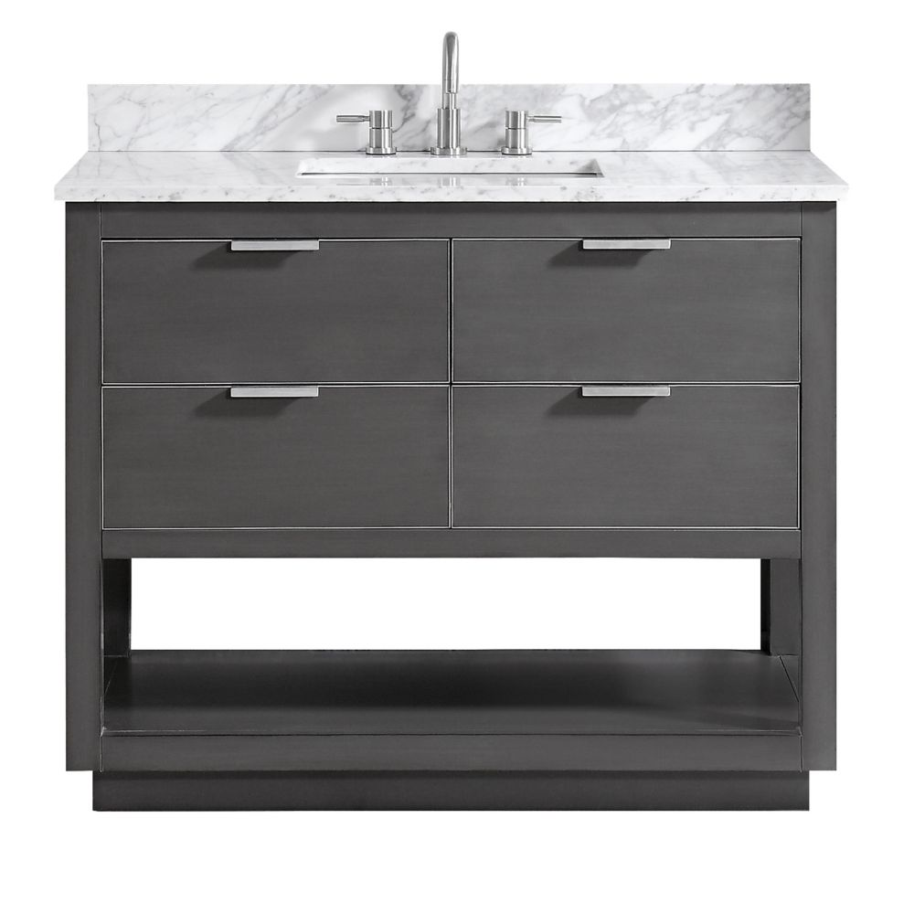 Avanity Allie 43 inch Vanity Combo in Twilight Gray w/ Silver Trim with Carrera White Marble Top