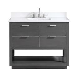 Avanity Allie 43 inch Vanity Combo in Twilight Gray w/ Silver Trim with White Quartz Top