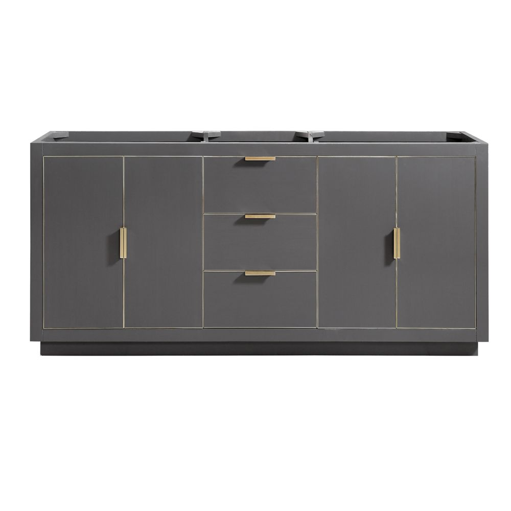 Avanity Austen 72 inch Vanity Only in Twilight Gray w/ Gold Trim