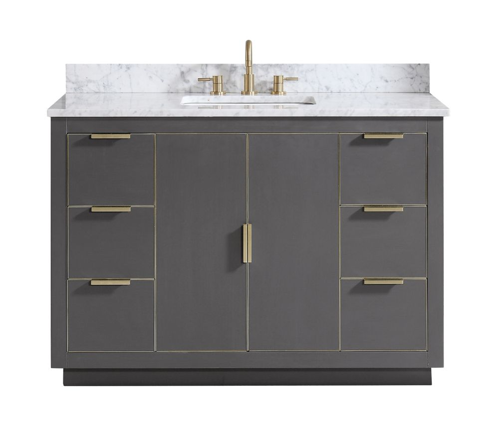 Avanity Austen 49 inch Vanity Combo in Twilight Gray w/ Gold Trim with Carrera White Marble Top