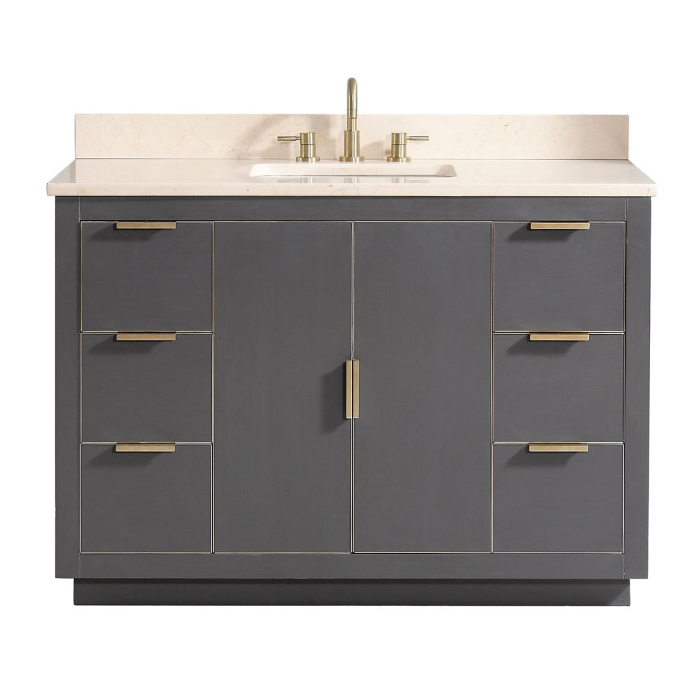 Avanity Austen 49 inch Vanity Combo in Twilight Gray w/ Gold Trim with Crema Marfil Marble Top