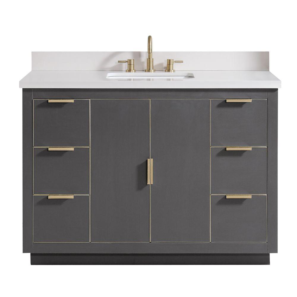Austen 49 inch Vanity Combo in Twilight Gray w/ Gold Trim with White Quartz Top